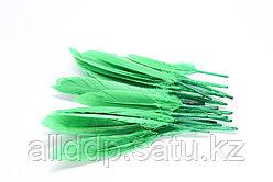 Перья натуральные для декора, зеленые, 13 см