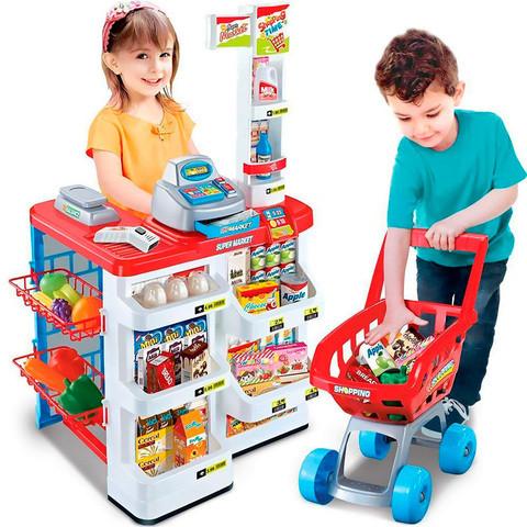 Игровой набор «Домашний Супермаркет» с тележкой, кассой, сканером и набором продуктов
