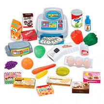 Игровой набор «Домашний Супермаркет» с тележкой, кассой, сканером и набором продуктов, фото 2