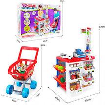Игровой набор «Домашний Супермаркет» с тележкой, кассой, сканером и набором продуктов, фото 3