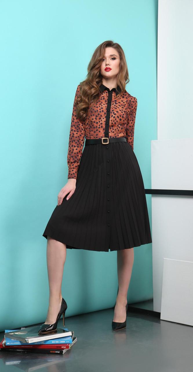 Платье КаринаДелюкс-В-248, медный+черный, 42