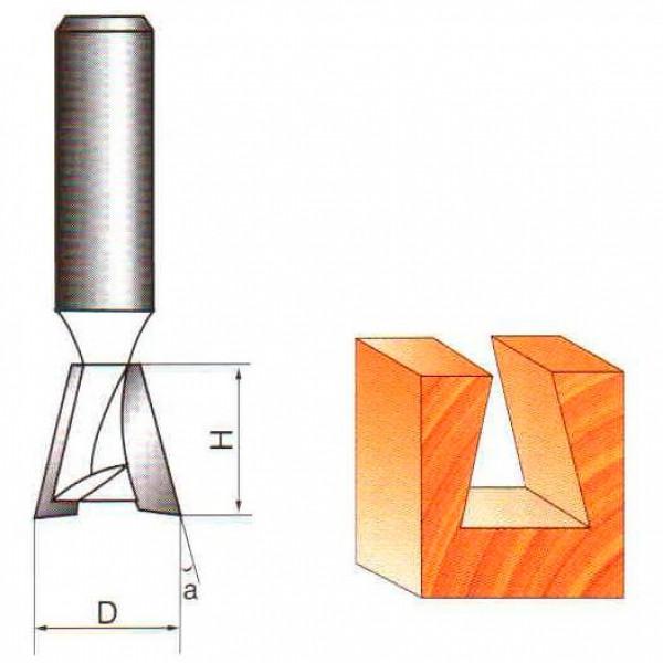 Фреза ласточкин хвост Глобус D=25,l=25,d=8mm арт.1006 D25