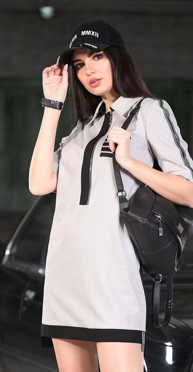 Платье DOGGI-3632, серый-черный, 42