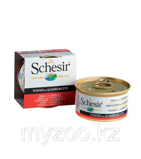 Schesir Шезир  банка  для кошек ТУНЕЦ-КРЕВЕТКИ в желе  85 гр