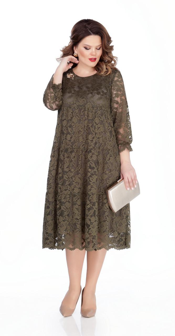 Платье TEZA-304, хаки, 50