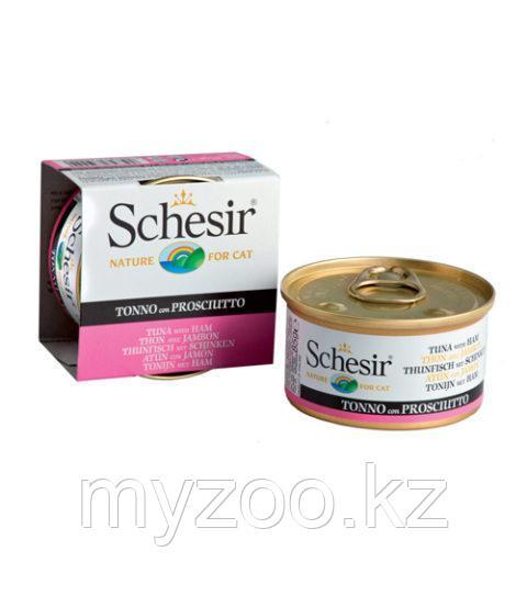 Schesir Шезир  банка  для кошек ТУНЕЦ-ВЕТЧИНА в желе  85 гр