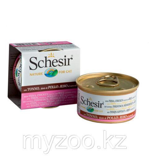 Schesir Шезир  банка  для кошек ТУНЕЦ-КУРИЦА-РИС в желе  85 гр