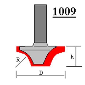 Фреза пазовая фасонная Глобус D=16,l=10,d=8mm,R=4 арт.1009 R4