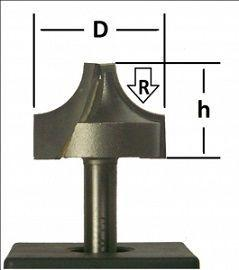 Фреза пазовая фасонная Глобус D=25,l=16,d=8mm,R=8 арт.1009 R8
