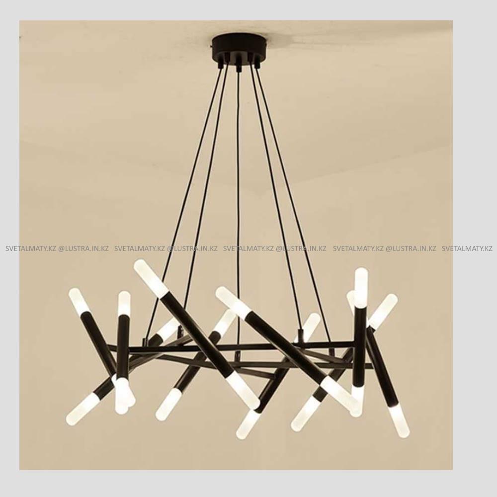 Дизайнерская люстра в черном цвете на 20 ламп
