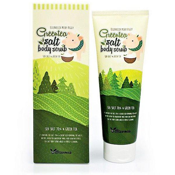 Elizavecca Greentea & Salt Body Scrub Очищающий Cкраб для тела с Морской солью и экстрактом Зелёного Чая 300гр