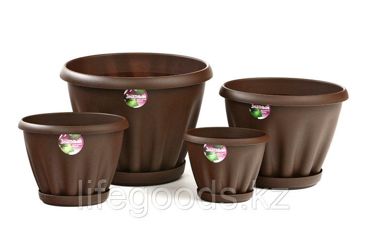 Цветочный горшок «Знатный» шоколадный с поддоном, фото 2