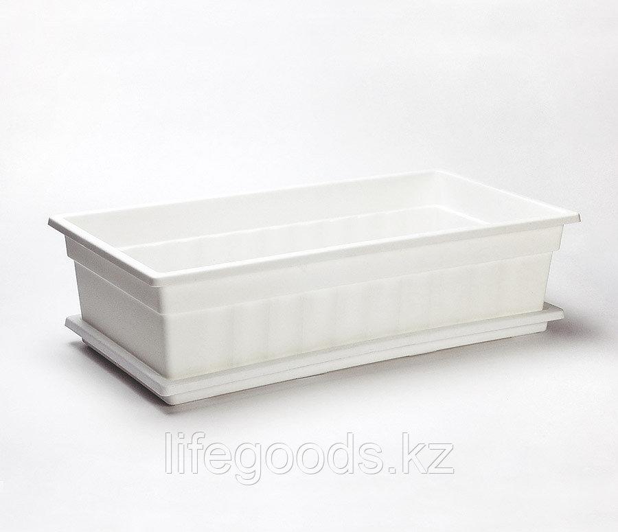 Ящик для рассады и цветов с поддоном «Домашняя грядка» белый