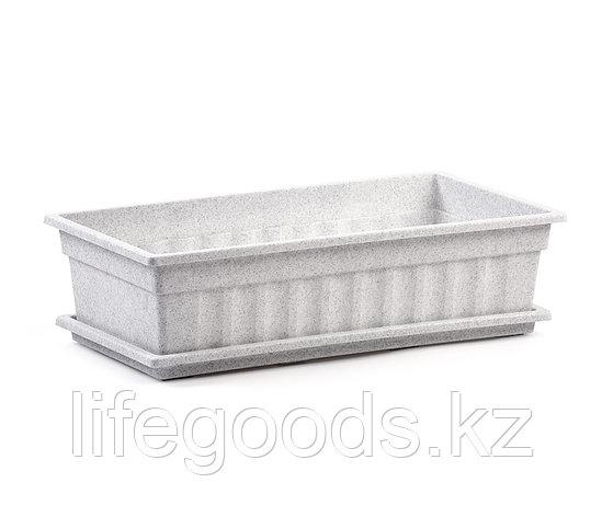 Ящик для рассады и цветов с поддоном «Домашняя грядка» мрамор, фото 2