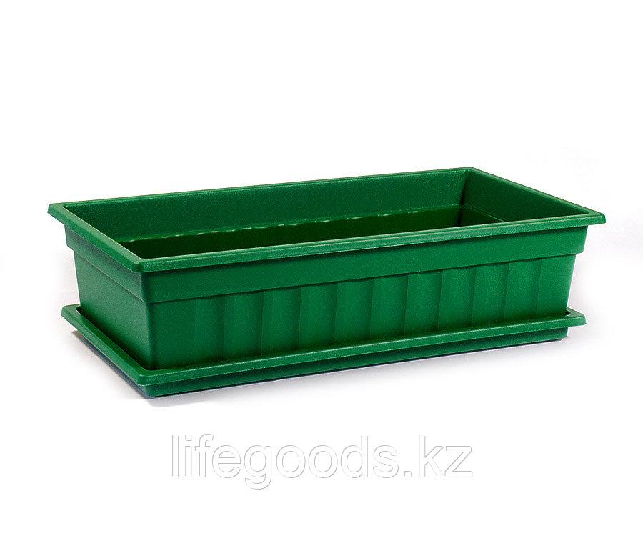 Ящик для рассады и цветов с поддоном «Домашняя грядка» темно-зеленый