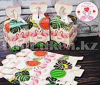 Подарочная упаковка Flamingo love подарочная коробка Бонбоньерка картонная