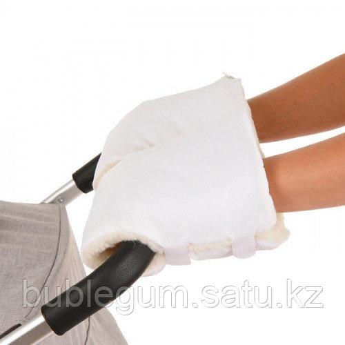 Муфты-варежки BAMBOLA на липучках шерстяной мех+плащевка (Лайт) Белые