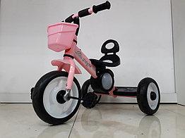 Детский трехколесный велосипед с задней фарой и мелодиями для девочек