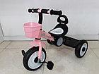 Детский трехколесный велосипед с задней фарой и мелодиями для девочек, фото 2