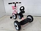 Детский трехколесный велосипед с задней фарой и мелодиями для девочек, фото 3