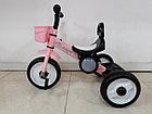 Детский трехколесный велосипед с задней фарой и мелодиями для девочек, фото 4