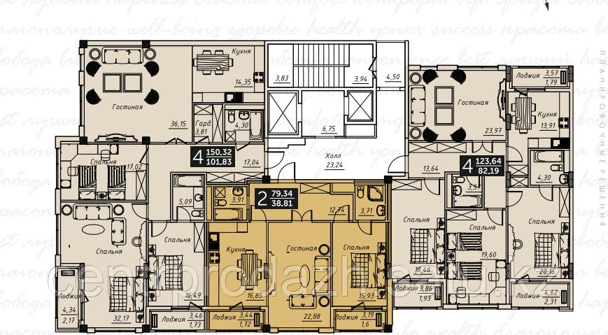 2 комнатная квартира в ЖК Liberty (Либерти)  79.34 м²