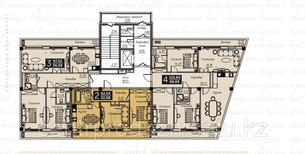 3 комнатная квартира в ЖК Liberty (Либерти)  97.32 м²