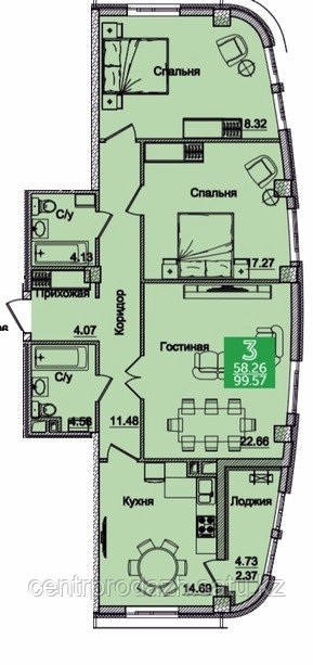3 комнатная квартира в ЖК Олимпийский 99.05 м²