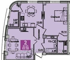 2 комнатная квартира в ЖК Олимпийский 68.03 м²