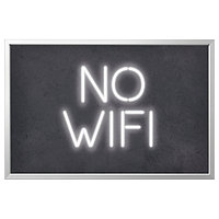 Картина с рамой БЬЁРКСТА, No wifi, цвет алюминия, 118x78 см ИКЕА