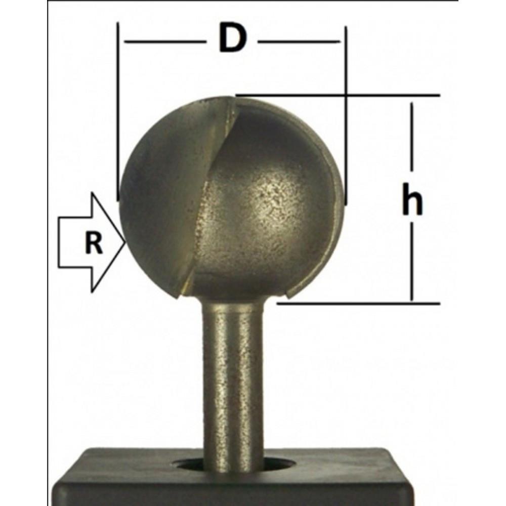 Фреза пазовая галтельная Глобус D=30,l=27,d=8mm,R=15 арт.1010 R15
