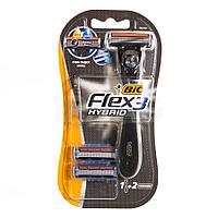BIC / Мужская бритва Flex 3 Hybrid с 2 сменными кассетами