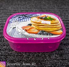 Контейнер для хранения, с крышкой, с декором . Материал: Пластик. Цвет: Розовый. Объем: 500мл.