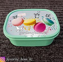 Контейнер для хранения, с крышкой, с декором . Материал: Пластик. Цвет: Зеленый. Объем: 500мл.