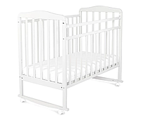 Детская кроватка СКВ Митенька 2 белый (колесо + качалка)