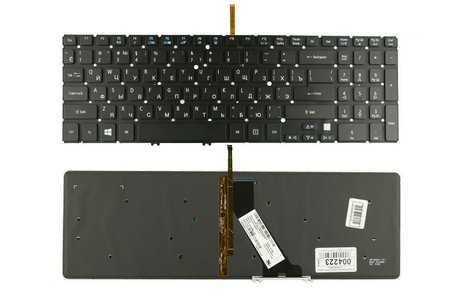 Клавиатура для ноутбука Acer Aspire V5-571 (черная с подсветкой, RU)