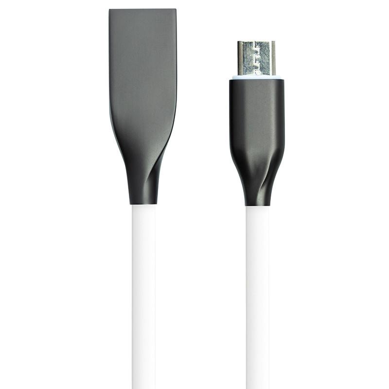 Кабель PowerPlant USB - microUSB, 2м, силикон, белый