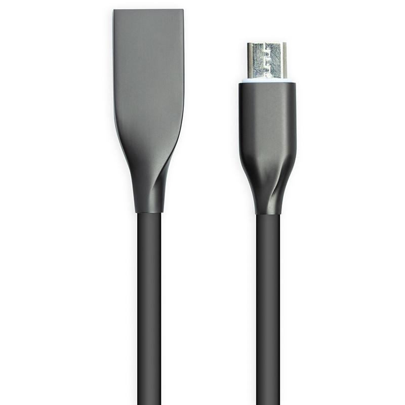 Кабель PowerPlant USB - microUSB, 1м, силикон, черный