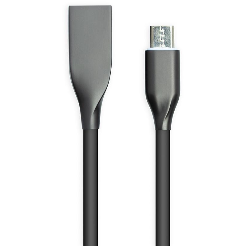 Кабель PowerPlant USB - microUSB, 2м, силикон, черный