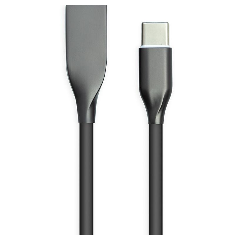Кабель PowerPlant USB - Type-C, 2м, силикон, черный