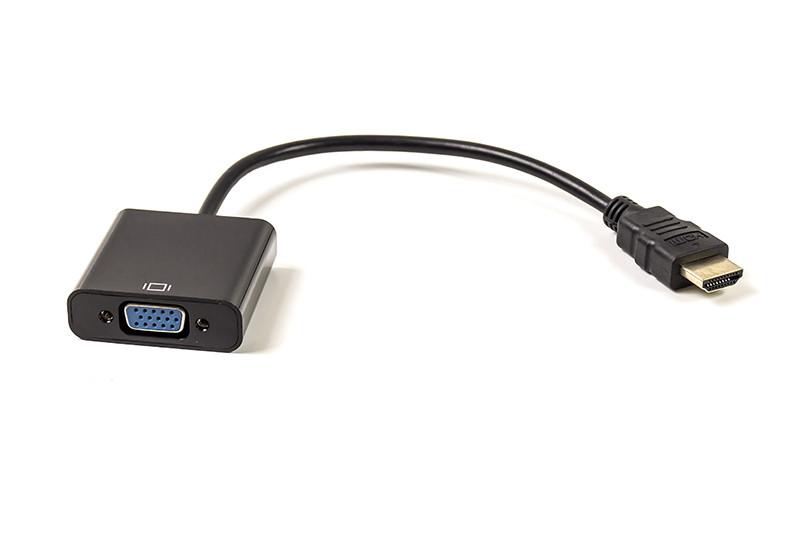 Кабель-переходник PowerPlant HDMI - VGA, 0.15m, позолоченные коннекторы, черный