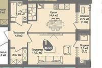 1 комнатная квартира в ЖК Асем Тас 2 46.54 м², фото 1