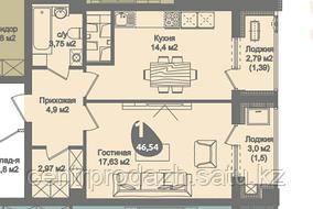 1 комнатная квартира в ЖК Асем Тас 2 46.54 м²