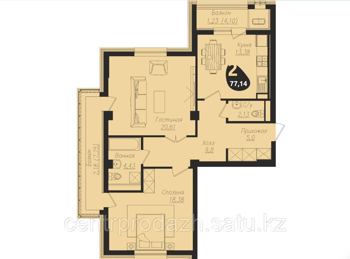 2 комнатная квартира в ЖК Асем Тас 2 77.14 м²