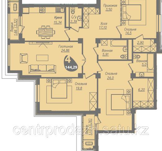 4 комнатная квартира в ЖК Асем Тас 2 144.29 м²