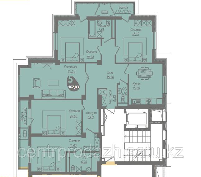 5 комнатная квартира в ЖК Асем Тас 2 162.03 м²