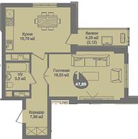 1 комнатная квартира в ЖК Асем Тас 2 47.89 м², фото 1
