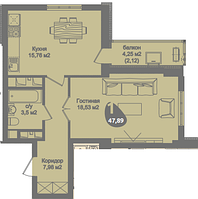 1 комнатная квартира в ЖК Асем Тас 2 47.89 м²