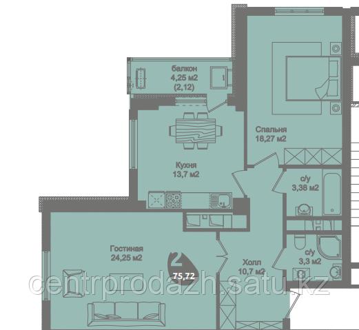 2 комнатная квартира в ЖК Асем Тас 2 75.72 м²