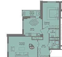 2 комнатная квартира в ЖК Асем Тас 2 75.72 м², фото 1